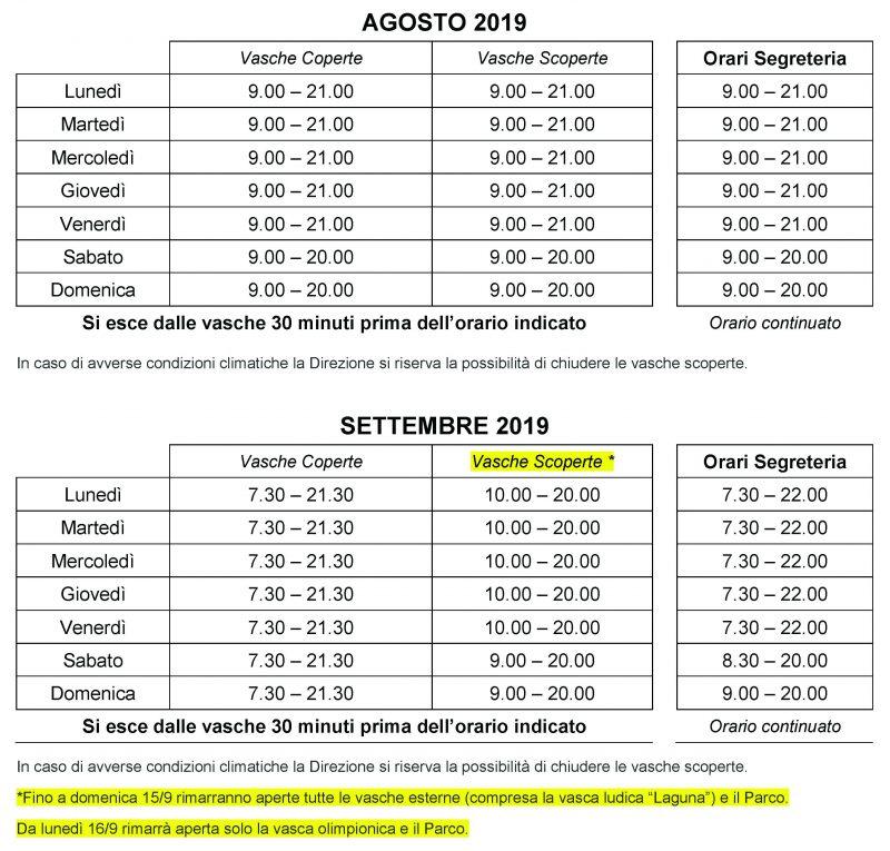 Orari Schiantarelli agosto settembre 2019